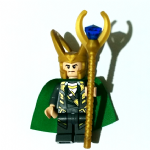 Lego Marvel Super Heroes 2012 Loki minifigure genuine with cape and staff @sold@